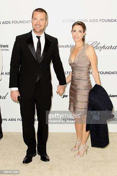Actor Chris O'Donnell and wife Caroline Fentress arrive at the 19th Annual Elton John AIDS Foundation's Oscar viewing party held at the Pacific...