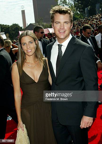 Actor Chris O'Donnell and wife Caroline Fentress arrive at the 57th Annual Emmy Awards held at the Shrine Auditorium on September 18 2005 in Los...