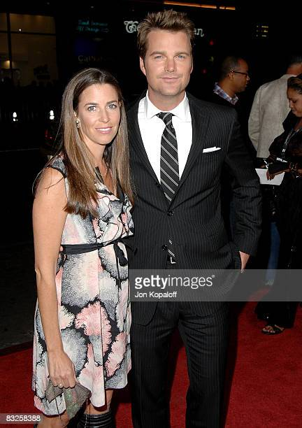 Actor Chris O'Donnell and wife Caroline Fentress arrive at the Los Angeles Premiere Max Payne at the Grauman's Chinese Theater on October 13 2008 in...