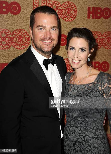Actor Chris O'Donnell and wife Caroline Fentress attend HBO's Golden Globe Awards after party at Circa 55 Restaurant on January 12 2014 in Los...