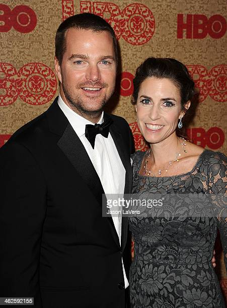 Actor Chris O'Donnell and wife Caroline Fentress attend HBO's Golden Globe Awards after party at Circa 55 Restaurant on January 12, 2014 in Los...