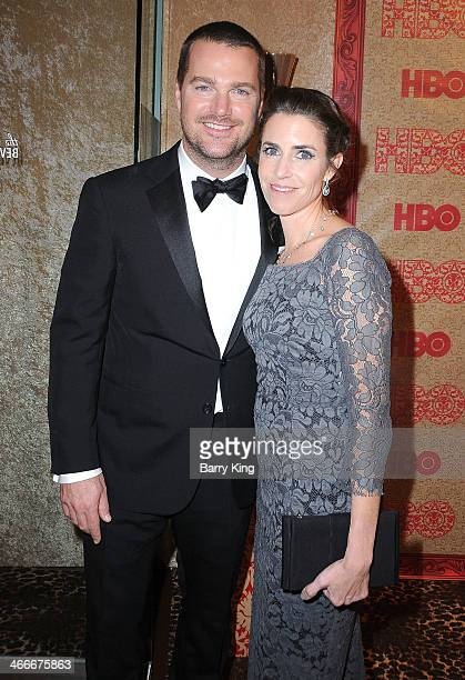 Actor Chris O'Donnell and wife Caroline Fentress attend HBO's Golden Globe Awards after party on January 12, 2014 at Circa 55 Restaurant in Beverly...