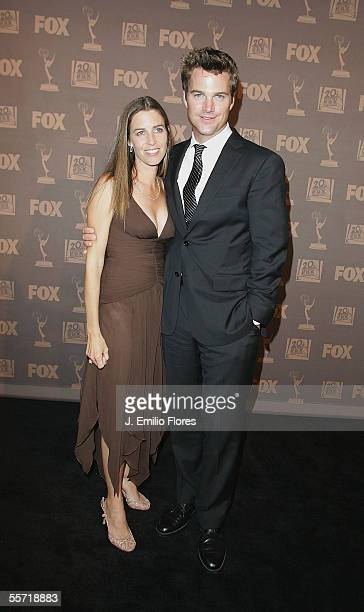 Actor Chris O'Donnell and wife Caroline Fentress attend the 20th Century Fox Television Emmy after party held at Spago on September 18 2005 in...