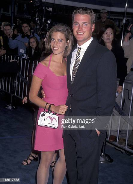 Actor Chris O'Donnell and wife Caroline Fentress attend the 'Batman Robin' Westwood Premiere on June 12 1997 at Mann Village Theatre in Westwood...