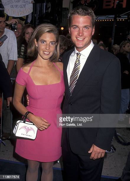 Actor Chris O'Donnell and wife Caroline Fentress attend the Batman Robin Westwood Premiere on June 12 1997 at Mann Village Theatre in Westwood...