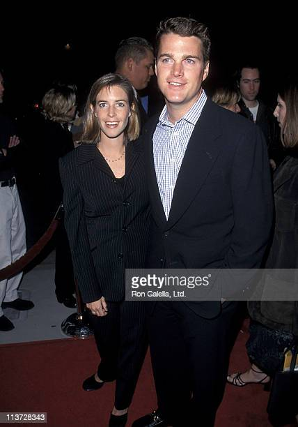 Actor Chris O'Donnell and wife Caroline Fentress attend the Cookie's Fortune Hollywood Premiere on March 29 1999 at Cineplex Odeon Showcase Cinemas...