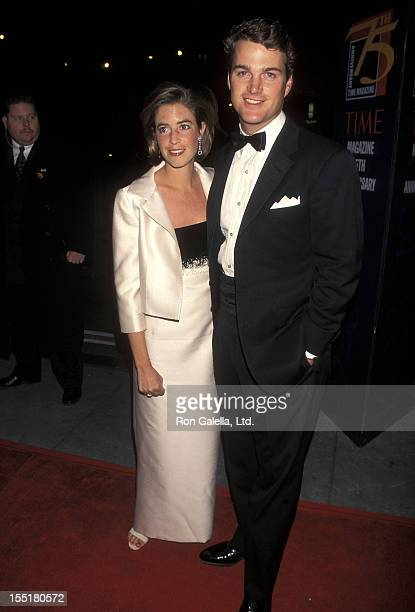 Actor Chris O'Donnell and wife Caroline Fentress attend the Time Magazine's 75th Anniversary Celebration on March 3 1998 at Radio City Music Hall in...