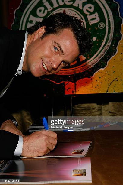 Actor Chris O'Donnell signs movie poster for charity at the Critics' Choice Awards at the Santa Monica Civic Center on January 7 2008 in Santa Monica...