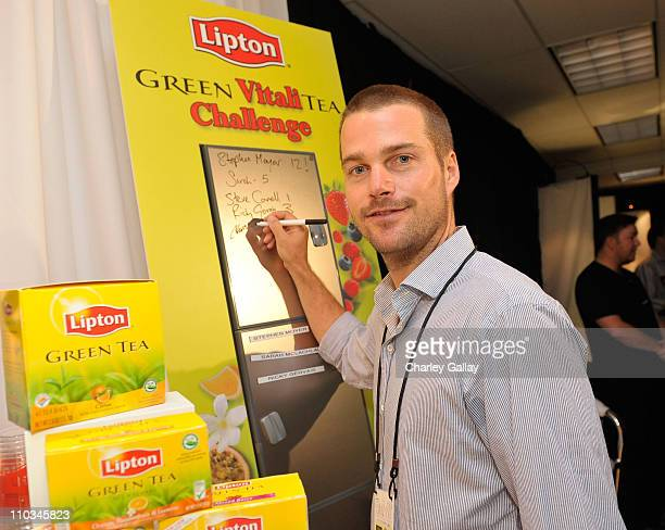 Actor Chris O'Donnell with Lipton Green Tea at the The Lipton Green VitaliTEA Gift Lounge Backstage at the Nokia Theatre Celebrating the 61st...