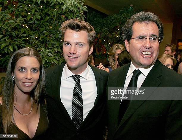 Actor Chris O'Donnell with wife Caroline Fentress and Fox's Peter Chernin attend the 20th Century Fox Television Emmy after party held at Spago on...