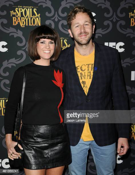 Actor Chris O'Dowd and wife Dawn Porter attend the premiere of IFC's The Spoils Of Babylon at DGA Theater on January 7 2014 in Los Angeles California