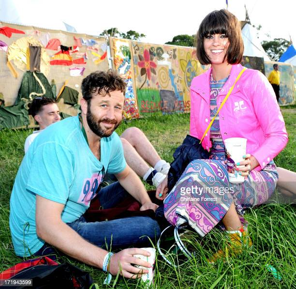 Actor Chris O'Dowd and wife television presenter Dawn Porter pose backstage during at day 3 of the 2013 Glastonbury Festival at Worthy Farm on June...