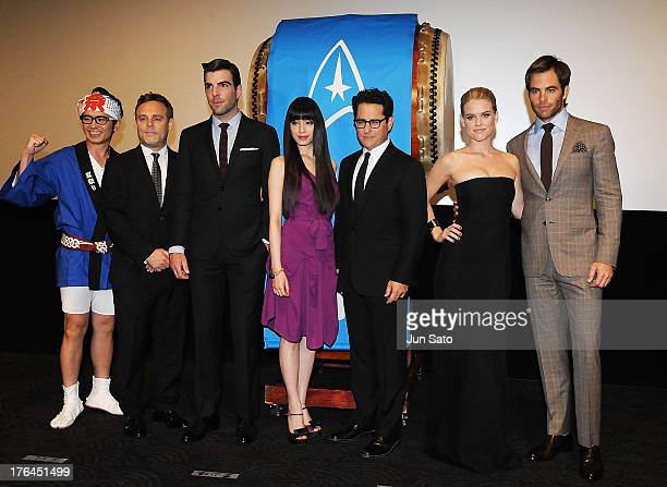 Actor Chris Pine actress Alice Eve producer JJ Abrams actress Chiaki Kuriyama actor Zachary Quinto and producer Bryan Burk attend the 'Star Trek Into...