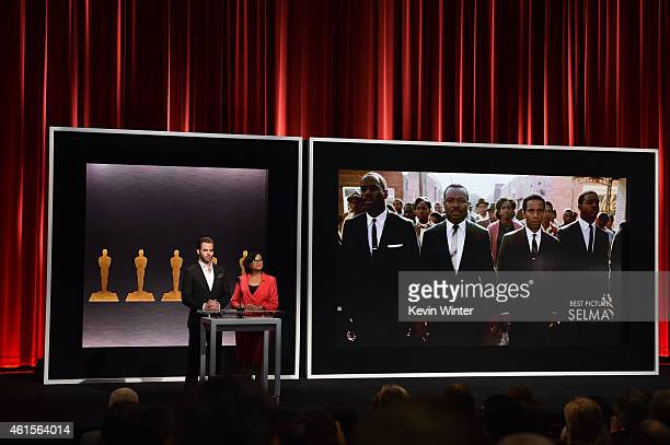 Actor Chris Pine and Academy President Cheryl Boone Isaacs announce the film 'Selma' as a nominee for Best Picture at the 87th Academy Awards...
