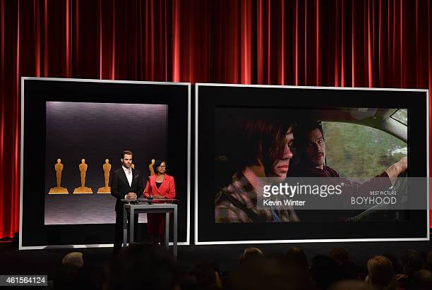 Actor Chris Pine and Academy President Cheryl Boone Isaacs announce the film 'Boyhood' as a nominee for Best Picture at the 87th Academy Awards...