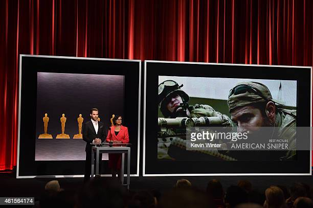 Actor Chris Pine and Academy President Cheryl Boone Isaacs announce the film 'American Sniper' as a nominee for Best Picture at the 87th Academy...