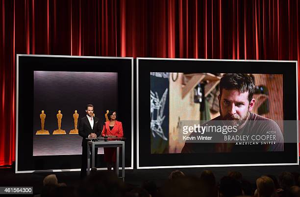 Actor Chris Pine and Academy President Cheryl Boone Isaacs announce Bradley Cooper as a nominee for Best Actor in the film 'American Sniper' at the...