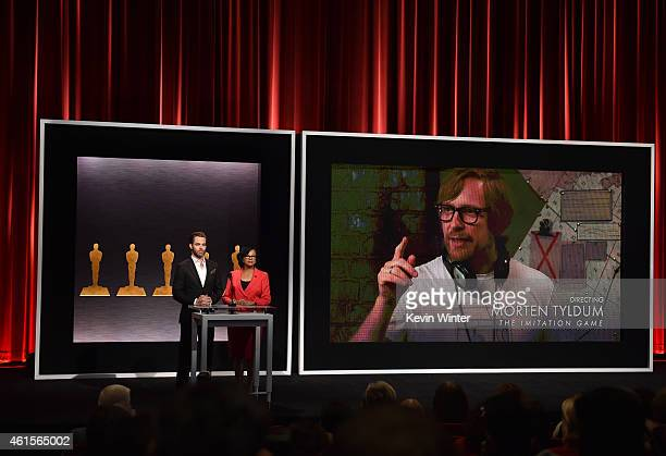 Actor Chris Pine and Academy President Cheryl Boone Isaacs announce Morten Tyldum as a nominee for Best Achievement in Directing in the film 'The...