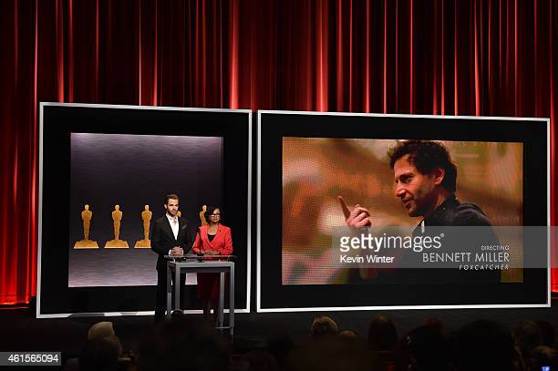 Actor Chris Pine and Academy President Cheryl Boone Isaacs announce Bennett Miller as a nominee for Best Achievement in Directing in the film...