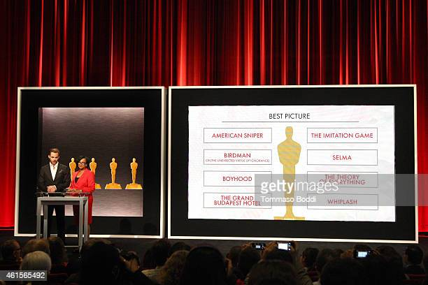 Actor Chris Pine and Academy President Cheryl Boone Isaacs announce the nominees for Best Picture at the 87th Academy Awards Nominations at AMPAS...