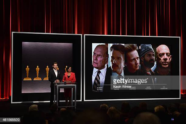 Actor Chris Pine and Academy President Cheryl Boone Isaacs announce the nominees for Best Actor in a Supporting Role at the 87th Academy Awards...