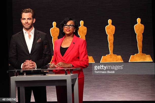 Actor Chris Pine and Academy President Cheryl Boone Isaacs announce the nominees during the 87th Academy Awards Nominations Announcement at AMPAS...