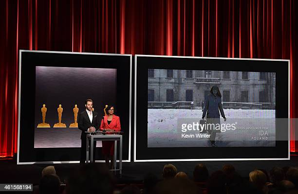 Actor Chris Pine and Academy President Cheryl Boone Isaacs announce the film 'Ida' from Poland as a nominee for Best Foreign Language Film at the...
