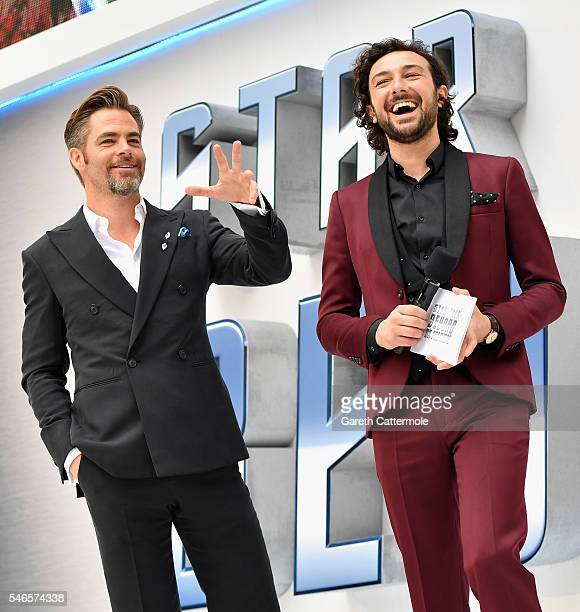 Actor Chris Pine and host Alex Zane attends the UK Premiere of Paramount Pictures 'Star Trek Beyond' at the Empire Leicester Square on July 12 2016...