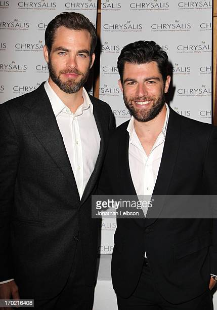 Actor Chris Pine and Host Max Greenfield attend the 12th Annual Chrysalis Butterfly Ball on June 8 2013 in Los Angeles California