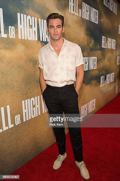 Actor Chris Pine arrives at the Alamo Drafthouse for the red carpet screening of 'Hell or High Water' on July 25 2016 in Austin Texas