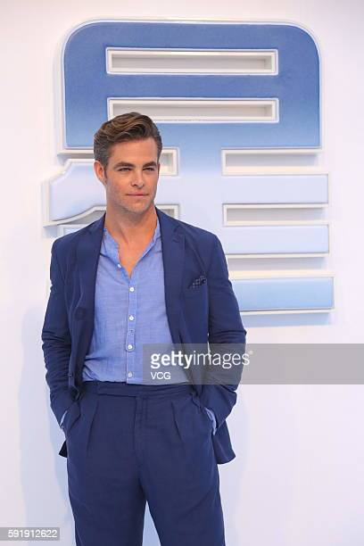 """Actor Chris Pine attends """"Star Trek Beyond"""" red carpet at Indigo Mall on August 18, 2016 in Beijing, China."""