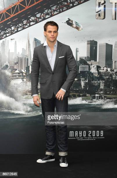 Actor Chris Pine attends 'Star Trek' photocall at Santo Mauro Hotel on April 17 2009 in Madrid Spain