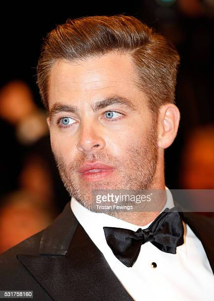 Actor Chris Pine attends the Hands Of Stone premiere during the 69th annual Cannes Film Festival at the Palais des Festivals on May 16 2016 in Cannes...