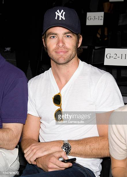 Actor Chris Pine attends the Rebecca Minkoff Spring 2012 fashion show during Mercedes-Benz Fashion Week at The Studio at Lincoln Center on September...
