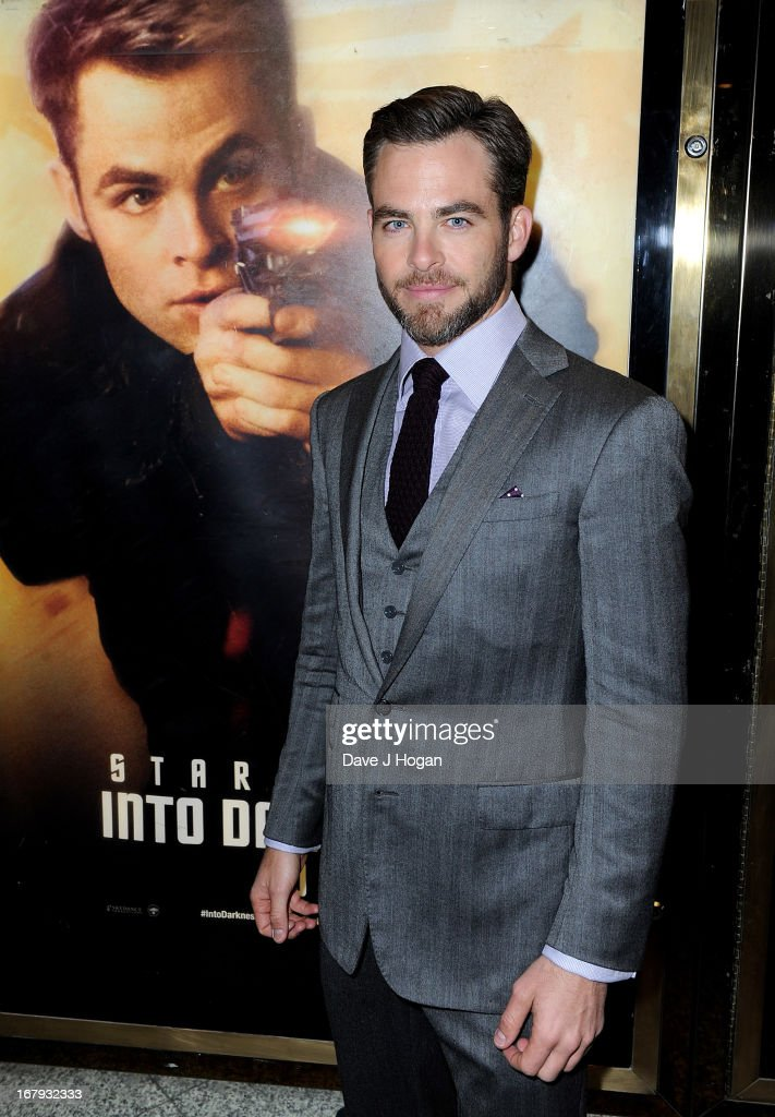 Actor Chris Pine attends the 'Star Trek Into Darkness' UK Premiere at the Empire Leicester Square on May 2, 2013 in London, England.