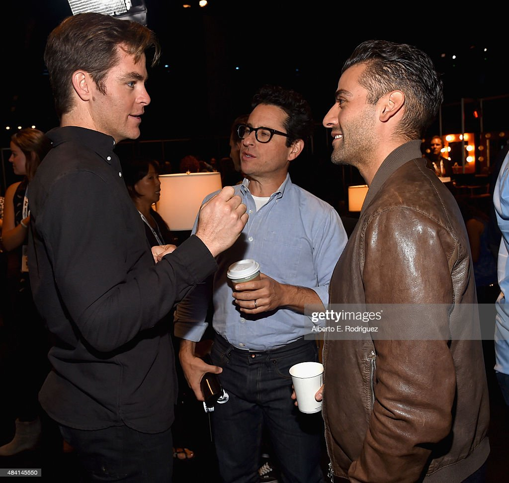 Actor Chris Pine of THE FINEST HOURS and director J.J. Abrams and actor Oscar Isaac of