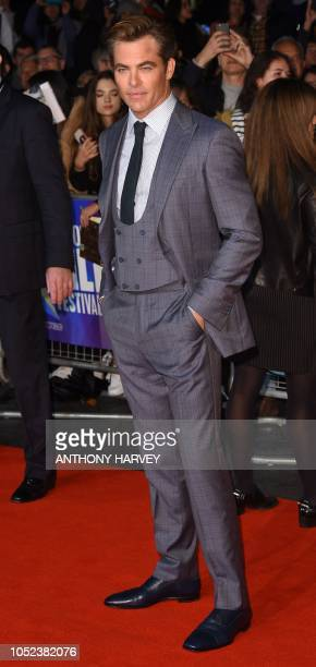 US actor Chris Pine poses upon arrival for the European premiere of the film 'Outlaw King' during the BFI London Film Festival in London on October...