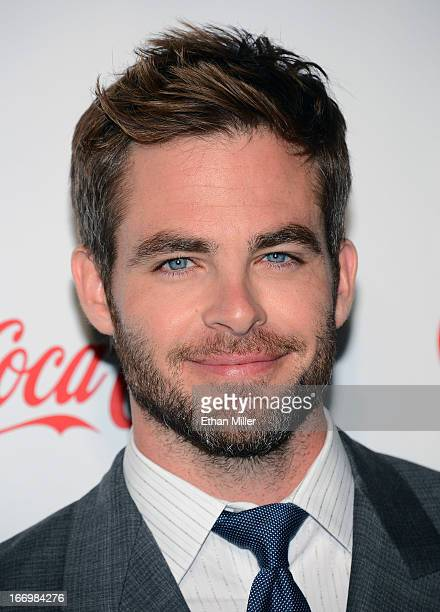 Actor Chris Pine recipient of the Male Star of the Year Award arrives at the CinemaCon awards ceremony at the Pure Nightclub at Caesars Palace during...