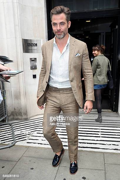 Actor Chris Pine seen leaving the BBC Radio 2 Studios on July 11 2016 in London England