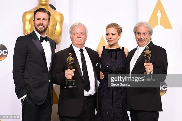 Actor Chris Pine sound editor Bub Asman actress Sienna Miller and sound editor Alan Robert Murray pose in the press room during the 87th Annual...