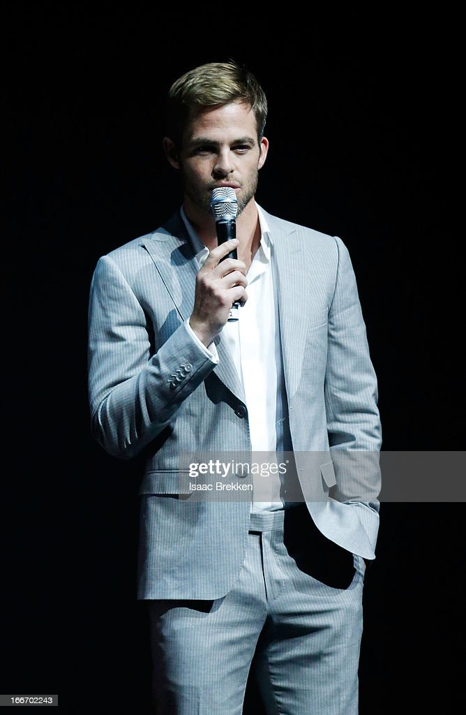 Actor Chris Pine speaks at a Paramount Pictures presentation to promote his upcoming film, 'Star Trek Into Darkness' during CinemaCon at The Colosseum at Caesars Palace on April 15, 2013 in Las Vegas, Nevada.