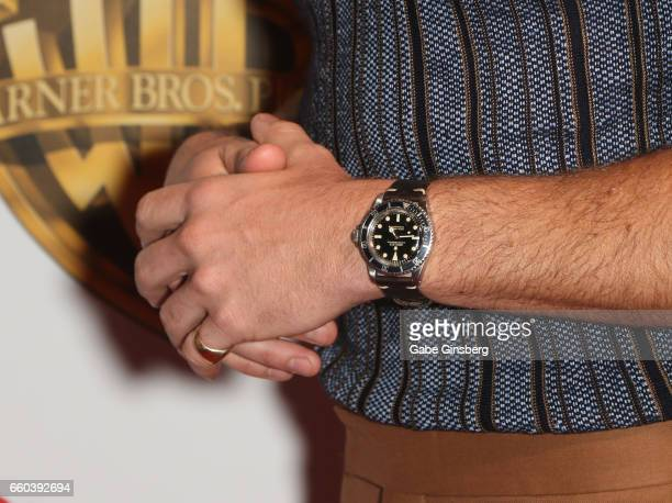 Actor Chris Pine watch detail attends the Warner Bros Pictures presentation during CinemaCon at The Colosseum at Caesars Palace on March 29 2017 in...