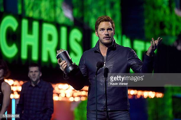Actor Chris Pratt accepts Best Action Performance for 'Jurassic World' onstage during the 2016 MTV Movie Awards at Warner Bros Studios on April 9...