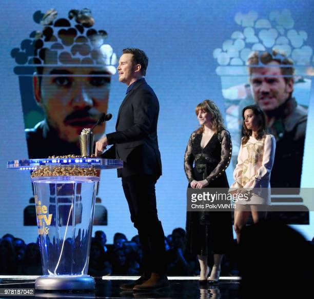 Actor Chris Pratt accepts the MTV Generation Award onstage during the 2018 MTV Movie And TV Awards at Barker Hangar on June 16 2018 in Santa Monica...