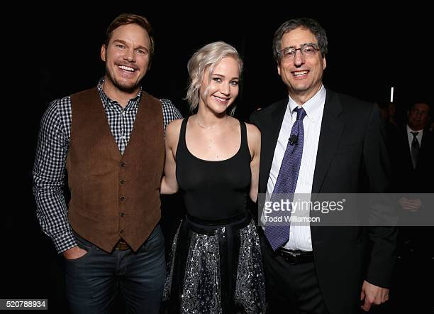 Actor Chris Pratt actress Jennifer Lawrence and Chairman of Sony Picture Entertainment's Motion Pictures Group Tom Rothman attend CinemaCon 2016 An...