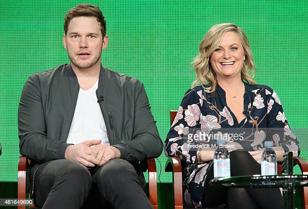 Actor Chris Pratt and actress Amy Poehler speak onstage during the 'Parks and Recreation' panel discussion at the NBC/Universal portion of the 2015...