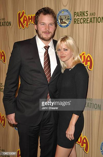 Actor Chris Pratt and actress Anna Faris arrive at the celebration for the premiere episode of Parks Recreation at MyHouse on April 9 2009 in...