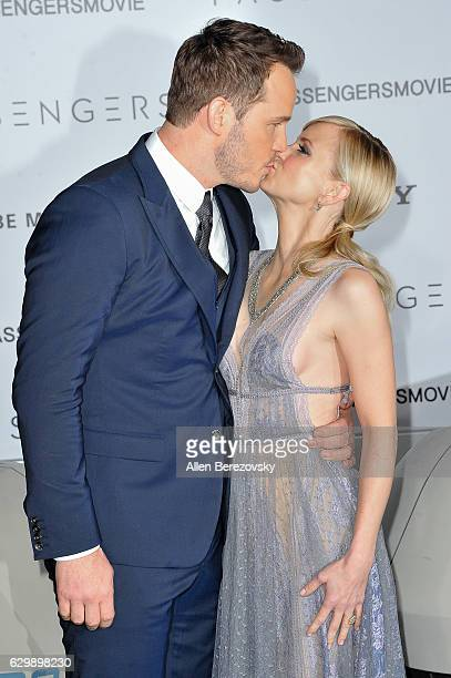 Actor Chris Pratt and actress Anna Faris arrive at the Premiere of Columbia Pictures' 'Passengers' at Regency Village Theatre on December 14 2016 in...