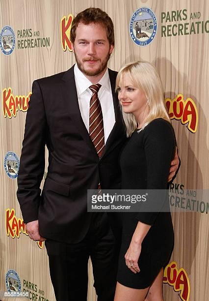 Actor Chris Pratt and actress Anna Faris arrive at the premiere of NBC's Parks Recreation at My House on April 9 2009 in Los Angeles California