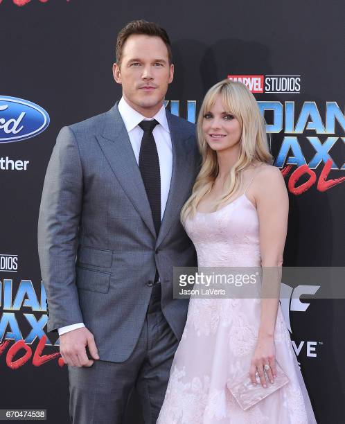 Actor Chris Pratt and actress Anna Faris attend the premiere of 'Guardians of the Galaxy Vol 2' at Dolby Theatre on April 19 2017 in Hollywood...